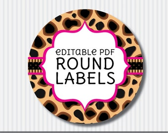 Editable PDF Printable - Cheetah Round Label / Sticker / Tags - DIY - Hot Pink Lining