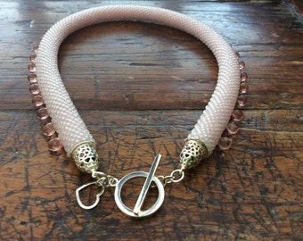 Glass seed bead rope necklace 925 silver