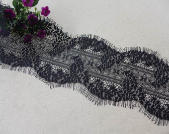 Black chantilly style lace wheat lace trim 4.53 inches wide 3 yards