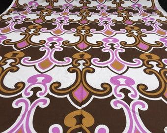 Vintage 70s: 50cmx 1.20 m geometric brown pink