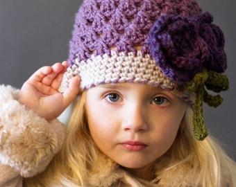 CROCHET PATTERN - Chloe Beanie with Crochet Rose Pattern  - Crochet Hat Pattern - Ladies and Girls Crochet Pattern - Easy Crochet Pattern