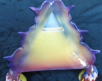 Mirrored Pyramid ceramic sculpture with airbrushed glazing.