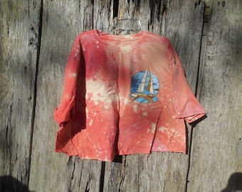 One of a kind XL custom coral Smooth Sailing Cut off Crop Top bleached Destroyed trashed ripped distressed shredded t shirt aesthetic