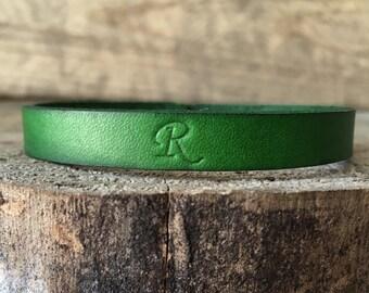 Green Leather Bracelet Personalized, Leather Bangle Bracelet Personalized, Leather Bangle, Leather Bracelet, You Choose Color