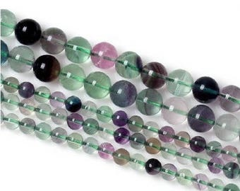 Round bead 6mm x 15 Rainbow fluorite