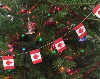 Canada Flag Garland- Christmas Decoration -  Paper - 5 feet