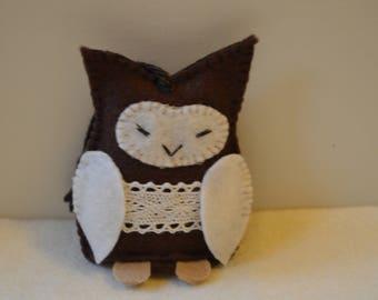 Felt owl ornament, owl hanging decoration