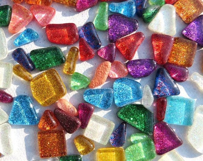 Glitter Tiles - Assorted Shapes and Colors - Mosaic Tiles Glass - 4 ounces - Random Geometric Shapes