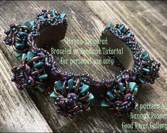 Bead Pattern Mayan Ziggurat beaded Bracelet or Pendant tutorial instructions - advanced level beading -  Hannah Rosner - Peyote Stitch & RAW