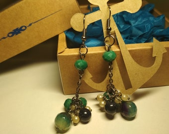 Earrings with natural agate and aventurine