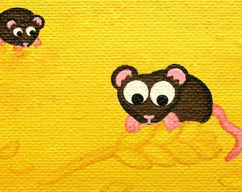 Little Mice ACEO - mini original acrylic painting of a cute brown mouse nibbling on wheat, cartoon rodent art