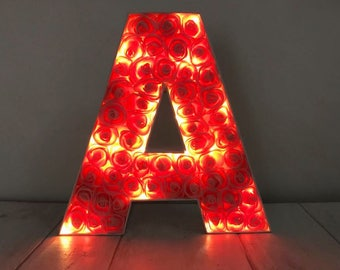 Light up letter, LED initial, Letter with lights, Children's bedroom decor, LED light up letter, Nursery light, Floral letter light
