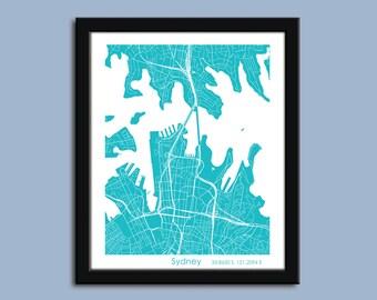 Sydney map, Sydney city art map, Sydney wall art poster, Sydney Australia decorative map