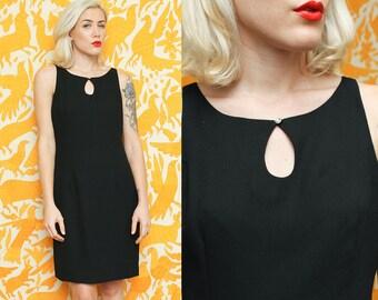 Little Black Dress // Keyhole Neckline // 90s Nicole Miller Rhinestone Detail Sleeveless Classic Chic Sophisticated Cocktail Size 10 Medium