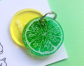 Médaillon pour chien ou chat Citron vert - Agrumes - médaille d'identification - orange citron vert mojito - plexiglas transparent
