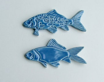 Ceramic knife Rests, Hand Made Set of Two, Blue Fish