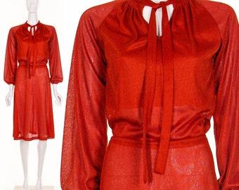 Vintage 70's Knit Red Secretary Dress Slinky Knit Dress
