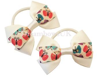 Cream butterfly design ribbon bows, Thick hair elastics, hair bobbles, Butterfly hair accessories, Cream hair bows, Ivory ribbon hair bows