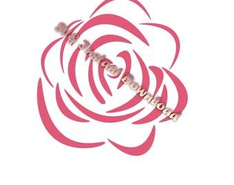 Rose SVG Instant Download, Flower svg Files, rose flower vinyl cut files, svg cuttables, svg cutting files, commercial use svg