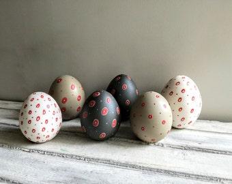 White Easter egg, small, red and white, porcelain, Easter egg, unglazed, ceramic egg with red circles, modern Easter decor, minimalist egg
