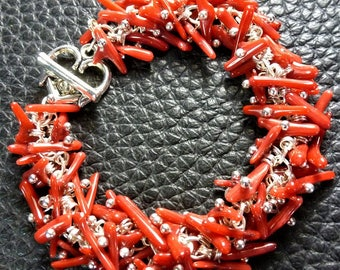 Delicate Red Natural Coral Plated Silver Bracelet