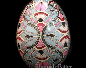 Etched Batik/Pysanka Duck Egg, Greys and Pink