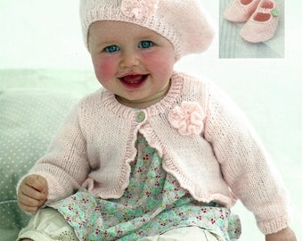 PDF Instant Digital Download easy knit baby cardigan beret and shoes knitting pattern double knit ages 0 to 7 years 16/26 inch  (396)