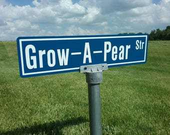 Personalized Street Sign, includes the post cap, Made to order street sign,