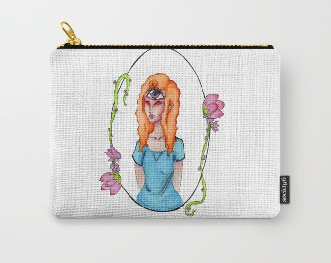 Carry All Pouch - Original Fantasy Art - Eye Girl - Make-up Bag- Pouch- Toiletry Bag - Change Purse - Organizing Bag - Made to Order