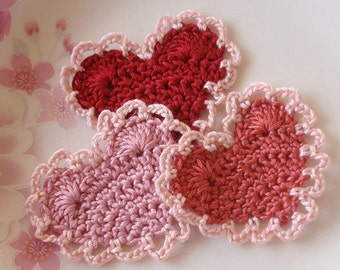 3 Crochet  Hearts  YH -118-03