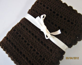 Crochet baby blanket brown blanket photo prop