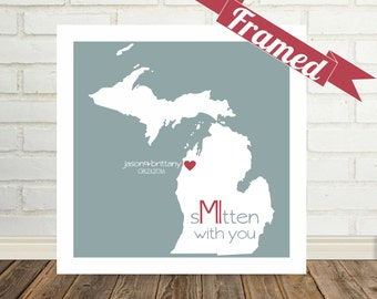 MICHIGAN Map Print Michigan Wedding Gift Personalized FRAMED Art Smitten Mitten Art State of Love Custom Wedding Gift Valentines Day Gift
