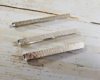 Birch Bark Hammered Sterling Silver Tie clip, 3 Sizes Available, Tie Bar, Gifts for Guys
