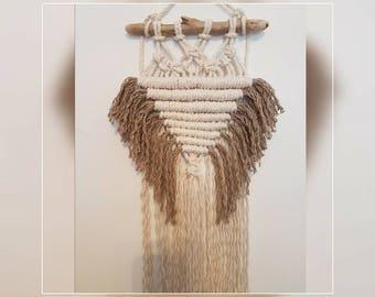 Macrame wall hanging made with cotton and linen fibres,boho style,driftwood, home decor, handmade,unique, fibre art, textile design,bohemian