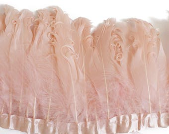 Peach Pink Curled Goose Feathers on ribbon trim for Millinery