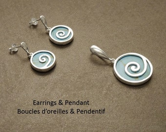 Turquoise Jewelry - Earrings and Pendant SET - Dangle Earrings - Sterling Silver Jewelry - Spiral - Blue Turquoise - Vintage Style Jewelry.