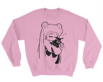 SAILOR MOON - Oversized Sweater, anime, Usagi, Luna, kitty cat, Serena