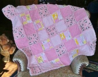 Baby Girl /Toddler Rag Quilt ~ Tumbling Monkeys & Giraffes ~ 40 x 40 ~ Best Selling Item