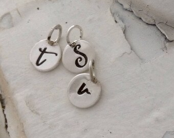 Sterling Silver Initial Pendant, Letter Pendant, Stamped Pendant, Monogram Pendant