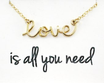 Gold Love Necklace - Script Love Word Necklace,  14K Gold Filled Wire, Lovers Jewelry