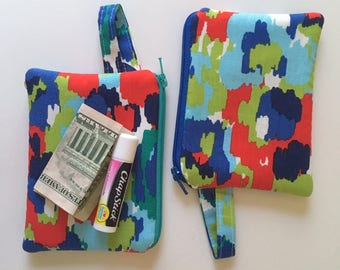 Change purse, Small zipper pouch, Coin purse, Minimalist pocket wallet, cash wallet, mini, earbud case, Blue painted watercolor canvas