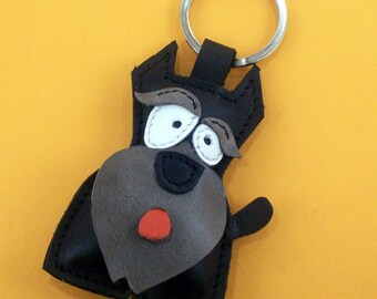 Sweet little black Schnauzer leather animal keychain - FREE shipping