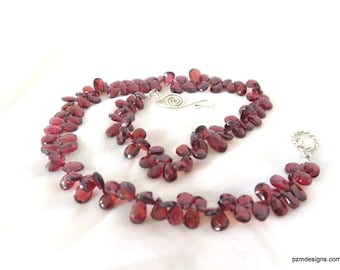 Red Garnet Necklace Strand, Fine Jewelry Valentine's Gift for Her, January Birthstone