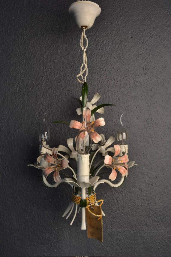 beautiful toleware chandelier with pink flowers