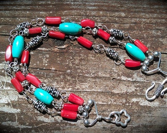 Turquoise Bracelet With Red Coral and Silver Beads Triple Strand colorful handmade bracelet