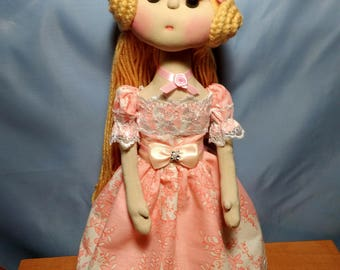 Textile doll Collectable Doll Interior Princess Soft toy Present for girls Art Doll OOAK Pink doll Blond doll Gift for goddaughter Happy toy