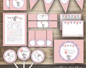 First Birthday Bunny Party Kit, Easter Birthday, Easter, Spring, Girl's Birthday, Bunny, Rabbit, Pink and Purple - Printable Party Package