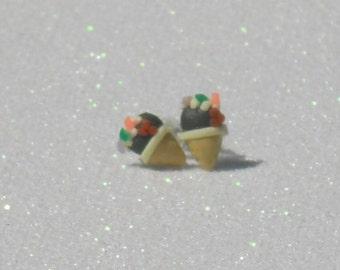 Chocolate Ice Cream Cone Sundae Stud Earrings