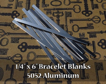 "50 - 5052 Aluminum 1/4"" x 6"" Bracelet Cuff Blanks - Polished Metal Stamping Blanks - 14G 5052 Aluminum - Flat"
