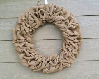 Burlap Wreath - XX-Large 30 inch - Tan Burlap Wreath HUGE!!!!